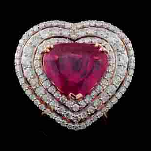 18K Rose Gold 717ct Ruby 293ctw Diamond Ring