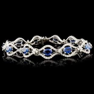 18K Gold 710ct Sapphire 254ctw Diamond Bracele