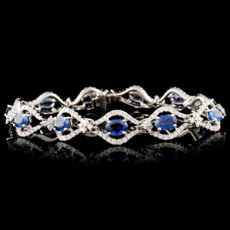 18K Gold 7.10ct Sapphire & 2.54ctw Diamond Bracele