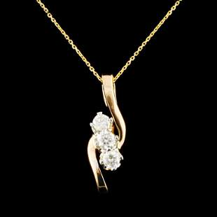 14K Gold 052ctw Diamond Pendant