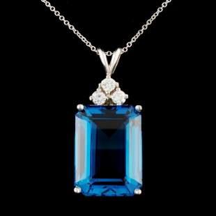 14K Gold 15ct Topaz 024ctw Diamond Pendant