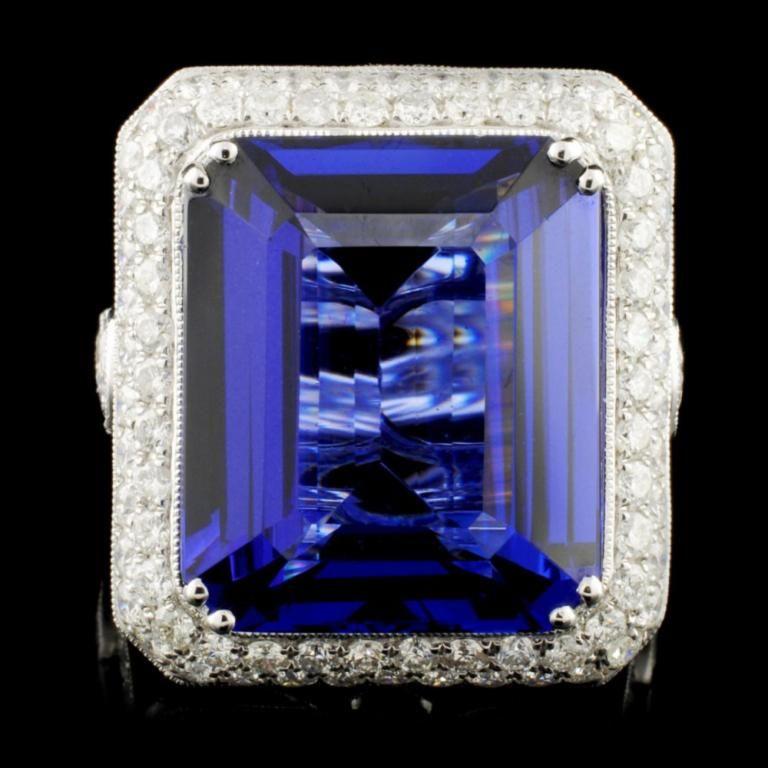 18K Gold 21.50ct Tanzanite & 3.93ctw Diamond Ring