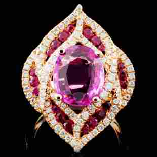 18K Gold 300ct Sapphire 082ctw Diamond Ring