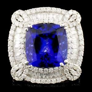 18K Gold 9.30ct Tanzanite & 3.13ctww Diamond Ring