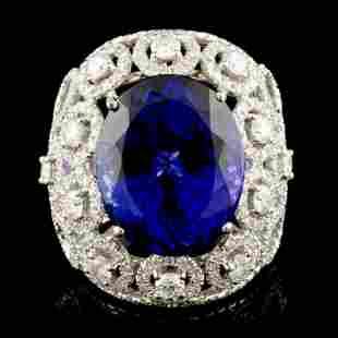 18K Gold 1549ct Tanzanite 268ctw Diamond Ring