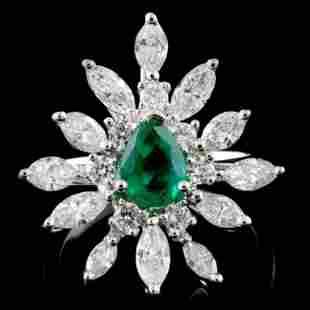 18K White Gold 073ct Emerald 151ctw Diamond Ri