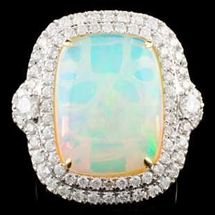 18K Gold 834ct Opal 130ctw Diamond Ring