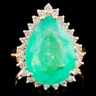 14K Gold 514ct Emerald 053ctw Diamond Ring