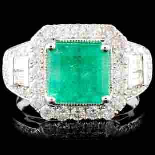 18K Gold 203ct Emerald 127ctw Diamond Ring