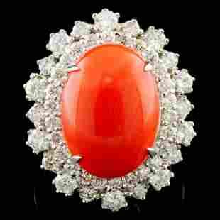 14K Gold 547ct Coral 182ctw Diamond Ring