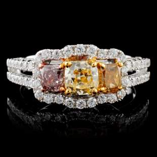 18K White Gold 170ctw Fancy Color Diamond Ring