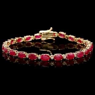 14k Gold 1100ct Ruby 050ct Diamond Bracelet