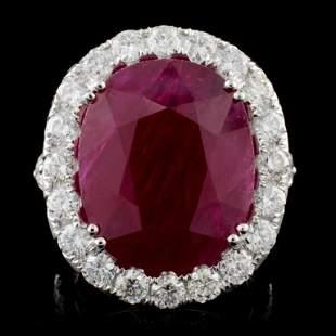 18K White Gold 1555ct Ruby 334ct Diamond Ring