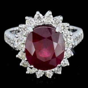 14K Gold 500ct Ruby 125ctw Diamond Ring