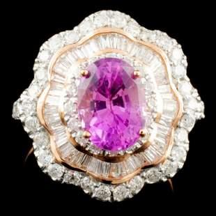14K Gold 190ct Sapphire 131ctw Diamond Ring