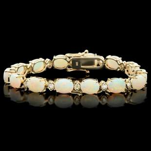 14k Gold 1500ct Opal 100ct Diamond Bracelet