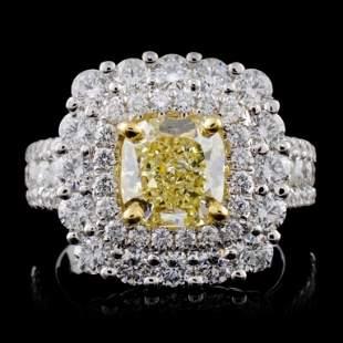 18K White Gold 392ctw Fancy Color Diamond Ring