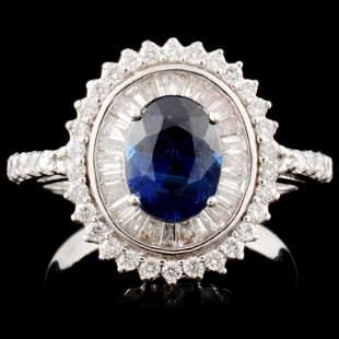 18K Gold 197ct Sapphire 078ctw Diamond Ring