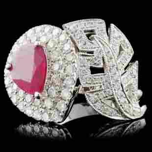 18K White Gold 129ct Ruby 098ct Diamond Ring