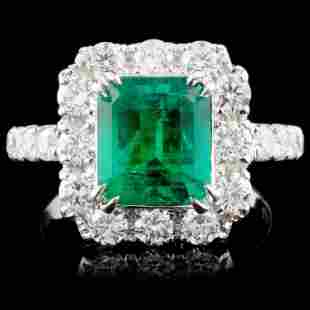 18K Gold 2.39ct Emerald & 1.43ct Diamond Ring