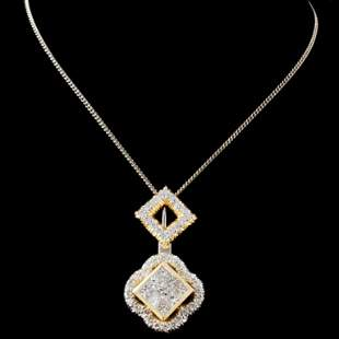 18K Two Tone Gold 124ctw Diamond Pendant