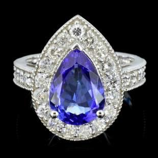 14K Gold 300ct Tanzanite 100ctw Diamond Ring