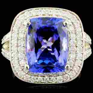 18K Gold 548ct Tanzanite 109ctw Diamond Ring