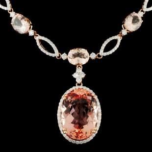 14K Gold 4418ctw Morganite 425ctw Diamond Neck