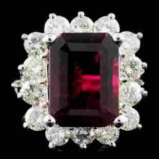 14K Gold 45ct Tourmaline 185ctw Diamond Ring