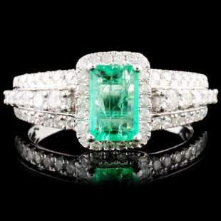 18K Gold 088ct Emerald 063ctw Diamond Ring
