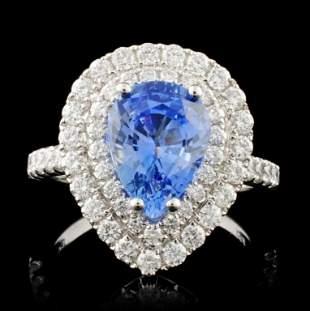 18K Gold 281ct Sapphire 109ctw Diamond Ring