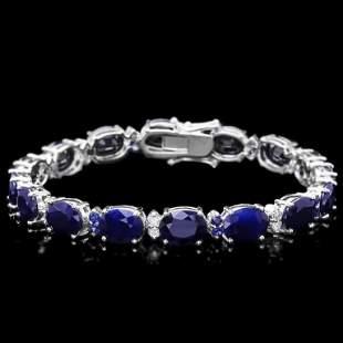 14k Gold 3750ct Sapphire 060ct Diamond Bracel