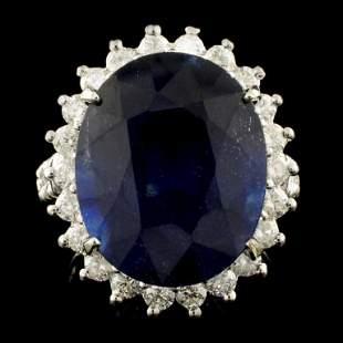 14K Gold 1715ct Sapphire 125ctw Diamond Ring