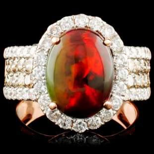 14K Gold 227ct Opal 061ctw Diamond Ring