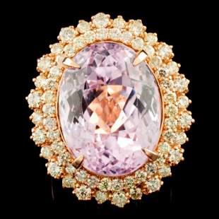 14K Gold 2191ct Kunzite 205ctw Diamond Ring