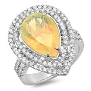 14K Gold 300ct Opal 100ct Diamond Ring