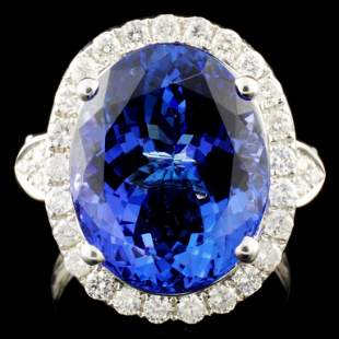 18K Gold 1072ct Tanzanite 087ctw Diamond Ring
