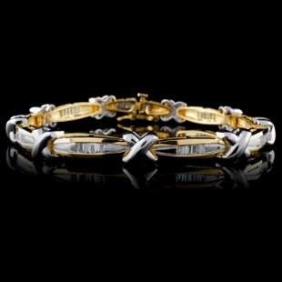 14K Two Tone 125ctw Diamond Bracelet