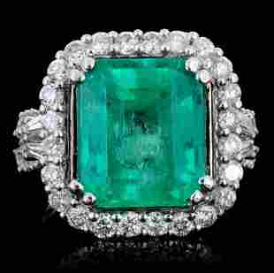 18K Gold 667ct Emerald 135ct Diamond Ring