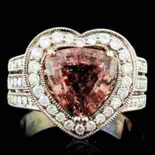 18K Gold 349ct Tourmaline 088ctw Diamond Ring