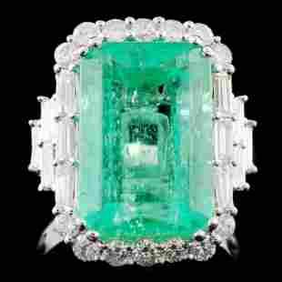 18K Gold 932ct Emerald 131ctw Diamond Ring