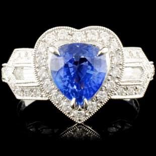 18K Gold 201ct Sapphire 080ctw Diamond Ring