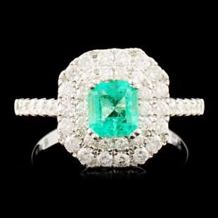 18K Gold 062ct Emerald 079ctw Diamond Ring