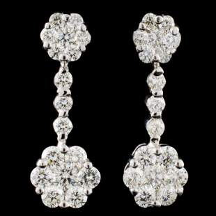 18K Gold 229ctw Diamond Earrings