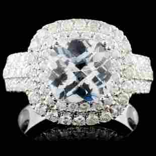 14K Gold 198ct Aquamarine 105ct Diamond Ring