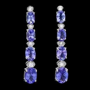 14k Gold 700ct Tanzanite 050ct Diamond Earrin