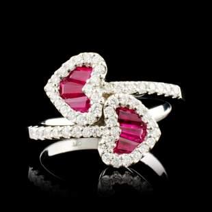 18K Gold 068ct Ruby 048ctw Diamond Ring