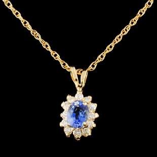 14K Gold 045ct Sapphire 018ctw Diamond Pendant