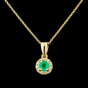 14K Gold 026ct Emerald 009ctw Diamond Pendant