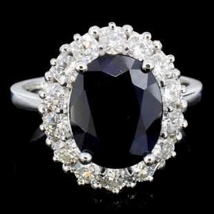 14K Gold 500ct Sapphire 120ctw Diamond Ring